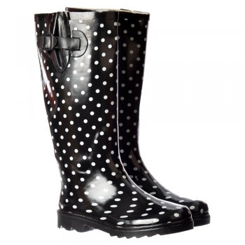 Shoekandi Funky Flat Wellie Wellington Festival Rain Boots - Black and White Polka Dot