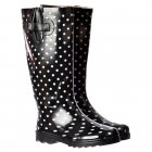 Funky Flat Wellie Wellington Festival Rain Boots - Black and White Polka Dot