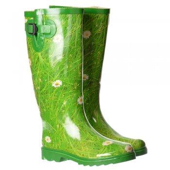 Shoekandi Funky Flat Wellie Wellington Festival Rain Boots - Daisy