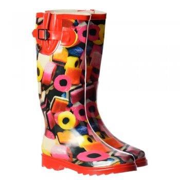 Shoekandi Funky Flat Wellie Wellington Festival Rain Boots - Liquorice