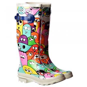 Shoekandi Funky Flat Wellie Wellington Festival Rain Boots - Multi Blob