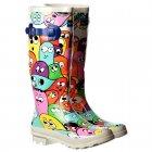 Funky Flat Wellie Wellington Festival Rain Boots - Multi Blob