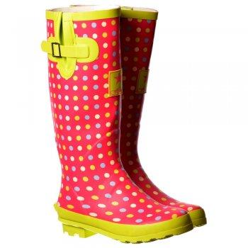 Shoekandi Funky Flat Wellie Wellington Festival Rain Boots - Pink/Green Spot
