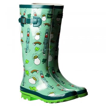 Shoekandi Funky Flat Wellie Wellington Festival Rain Boots - Pot of Gold