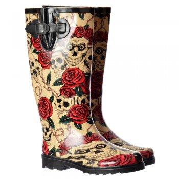 Shoekandi Funky Flat Wellie Wellington Festival Rain Boots - Skulls and Roses