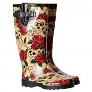 Funky Flat Wellie Wellington Festival Rain Boots - Skulls and Roses