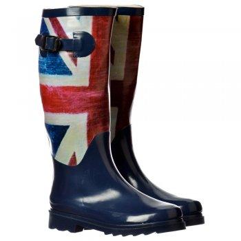 Shoekandi Funky Flat Wellie Wellington Festival Rain Boots - Union Jack