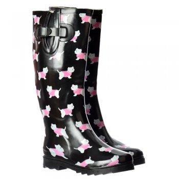 Shoekandi Funky Flat Wellie Wellington Festival Rain Boots - Yorkie Dog
