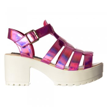 Shoekandi Gladiator Cut Out Platform Summer Sandals - Chunky Cleated Sole Block Heel - Black, White, Pink, Silver, Gold