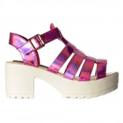 Gladiator Cut Out Platform Summer Sandals - Chunky Cleated Sole Block Heel - Black, White, Pink, Silver, Gold