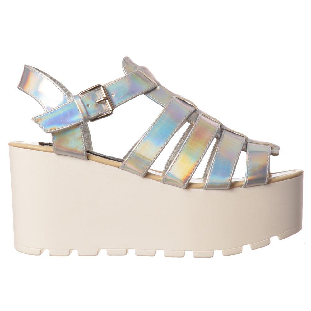 07350b8896c Shoekandi Gladiator Cut Out Platform Summer Sandals - Chunky Sole Wedges -  Gold