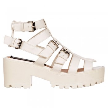 Shoekandi Gladiator Cut Out Platform Summer Sandals - Strappy Buckles - Nude, White