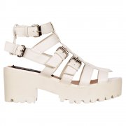Gladiator Cut Out Platform Summer Sandals - Strappy Buckles - Nude, White
