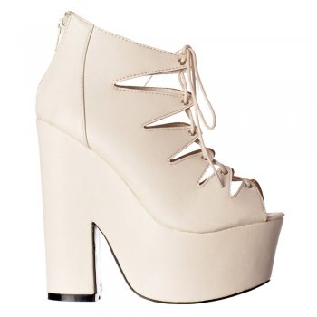Shoekandi Gladiator Cut Out Strappy Lace Up - Demi Wedge Chunky Heels - White PU