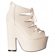 Gladiator Cut Out Strappy Lace Up - Demi Wedge Chunky Heels - White PU