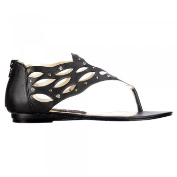Shoekandi Gladiator Flat Toe Post Sandal - Diamate Jewelled and Studded - Black