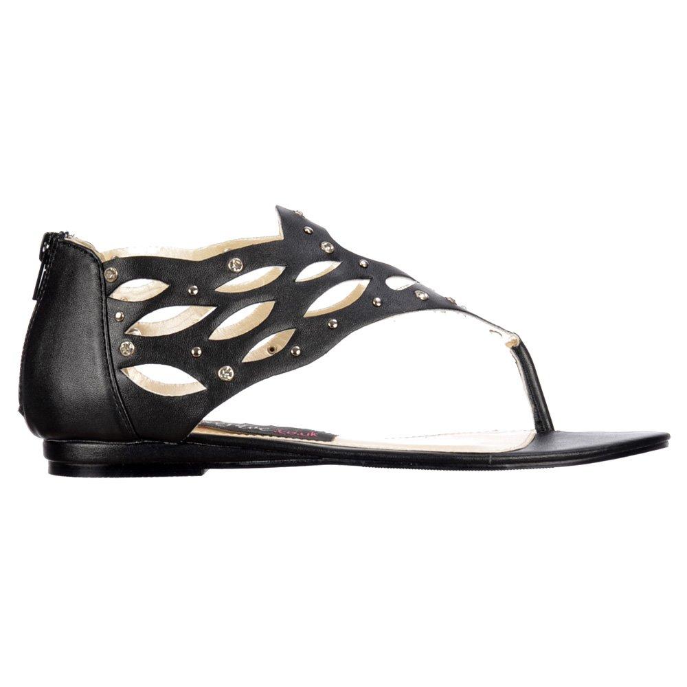 29909531d Shoekandi Gladiator Flat Toe Post Sandal - Diamate Jewelled and Studded -  Black