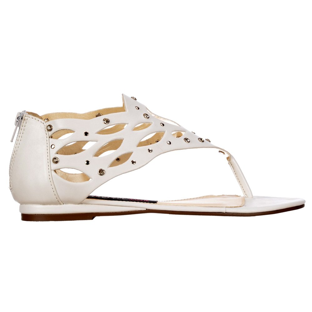8ec1272aa Shoekandi Gladiator Flat Toe Post Sandal - Diamate Jewelled and Studded -  White