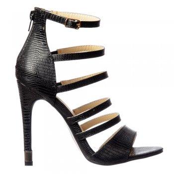 Shoekandi Gladiator High Heel - Ankle Strap and Gold Heel Tips - Black Lizard, White Lizard