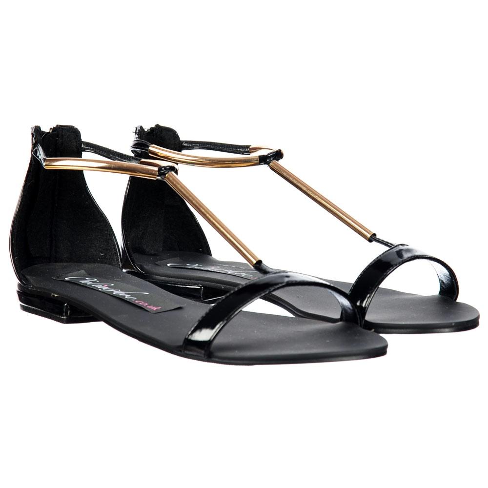Black patent sandals uk -  Shoekandi Gladiator T Bar Flat Sandal Gold Chrome Bar Black Patent