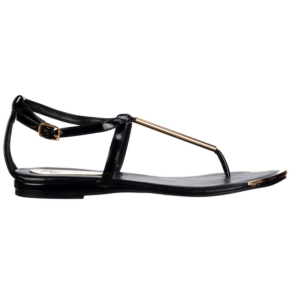 Black sandals uk -  Shoekandi Gladiator Toe Post Flat Sandal Gold Bar Toe Plate Black