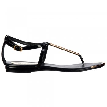 Shoekandi Gladiator Toe Post  Flat Sandal - Gold Bar & Toe Plate - Black