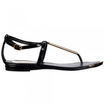 Shoekandi Gladiator Toe Post  Flat Sandal - Gold Bar & Toe Plate - Black
