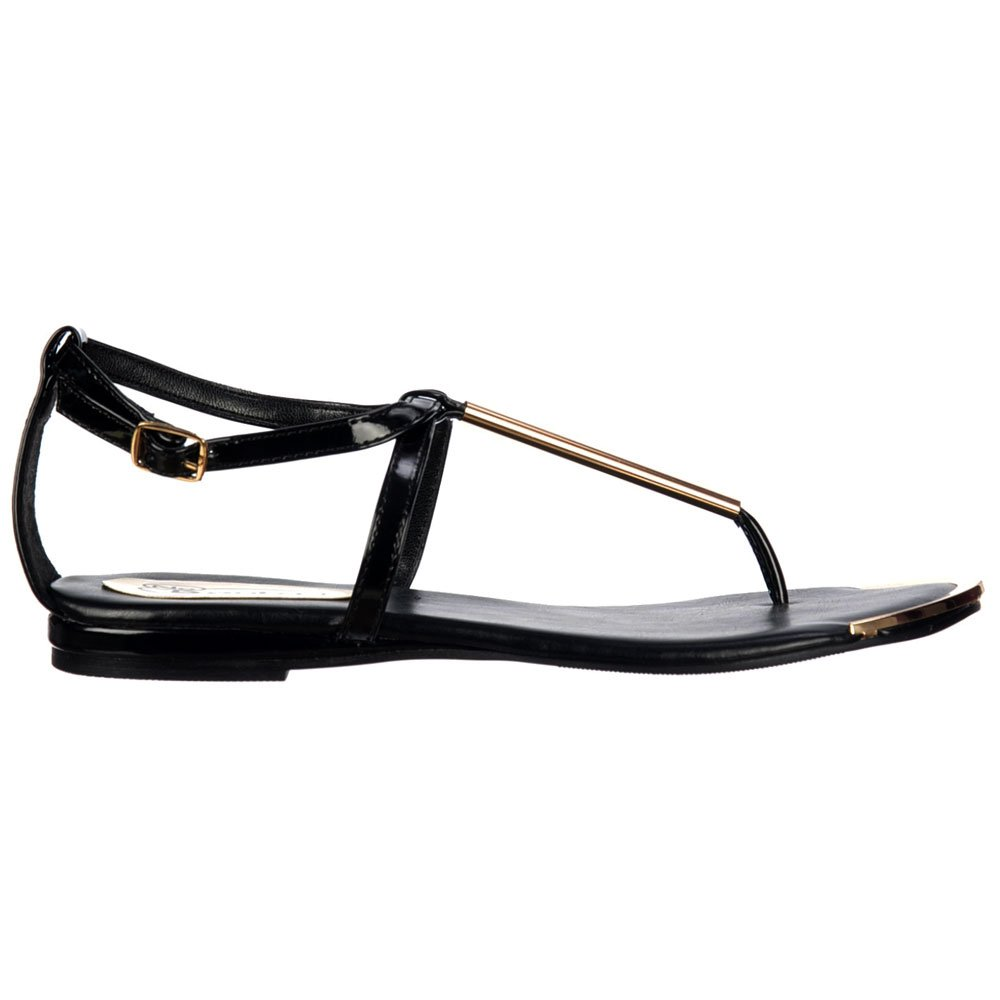 Shoekandi Gladiator Toe Post Flat Sandal - Gold Bar & Toe Plate - Black - Shoekandi Gladiator Toe Post Flat Sandal - Gold Bar & Toe Plate