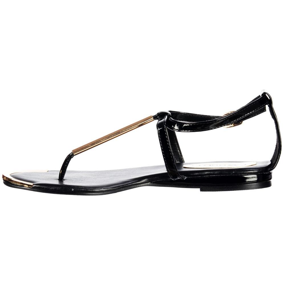 Black sandals gold bar -  Shoekandi Gladiator Toe Post Flat Sandal Gold Bar Toe Plate Black