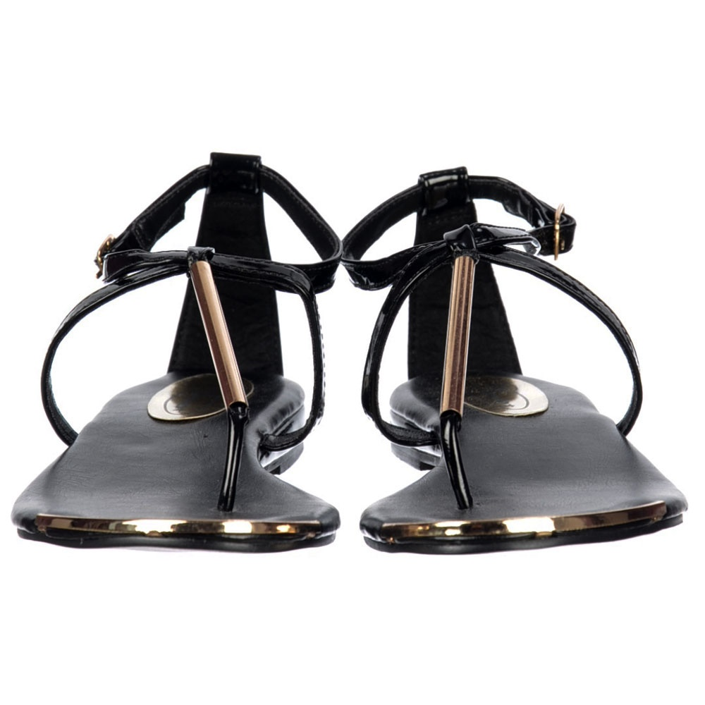 ... Shoekandi Gladiator Toe Post Flat Sandal - Gold Bar & Toe Plate - Black  ... - Shoekandi Gladiator Toe Post Flat Sandal - Gold Bar & Toe Plate
