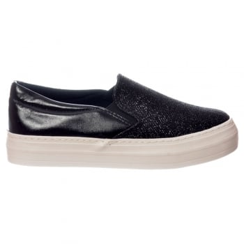 Shoekandi Glitter Flat Loafer Shoes - Black Glitter, Silver Glitter