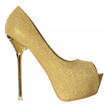 Shoekandi Glitter Peep Toe Party Heels - Gold/Silver Heel Detail - Gold, Silver