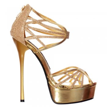 Shoekandi Glitter Peep Toe Platform - Strappy Gladiator Party Shoe - Gold, Silver, Black