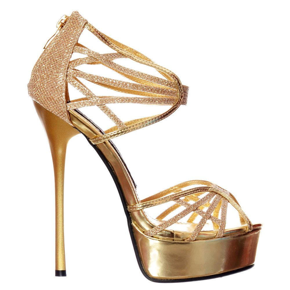 993ab563d5b Shoekandi Glitter Peep Toe Platform - Strappy Gladiator Party Shoe - Gold