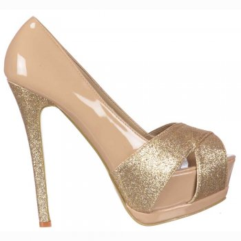 Shoekandi Glitter Peep Toe Stiletto - Glitter Crossed Toe - Nude Gold Glitter