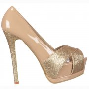Glitter Peep Toe Stiletto - Glitter Crossed Toe - Nude Gold Glitter