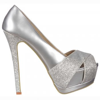 Shoekandi Glitter Peep Toe Stiletto - Glitter Crossed Toe - Silver Glitter