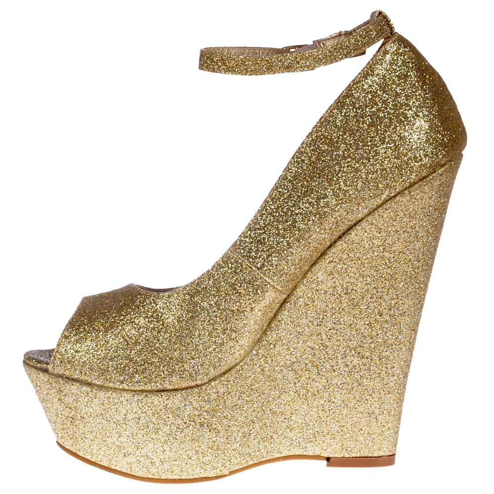 shoekandi glitter wedge peep toe platform shoes ankle