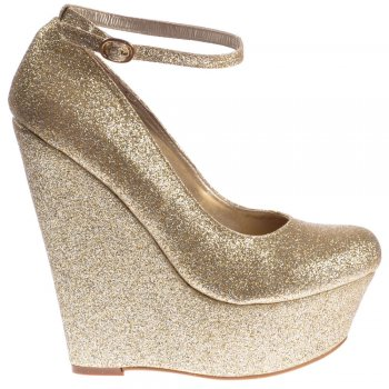 Shoekandi Glitter Wedge Platform Shoes Ankle Strap - Gold
