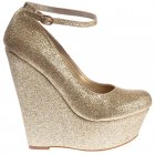 Glitter Wedge Platform Shoes Ankle Strap - Gold