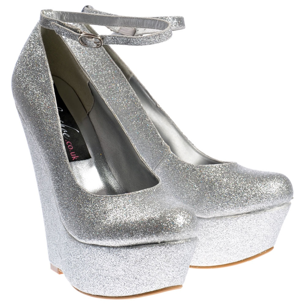 Shoekandi Glitter Wedge Platform Shoes Ankle Strap