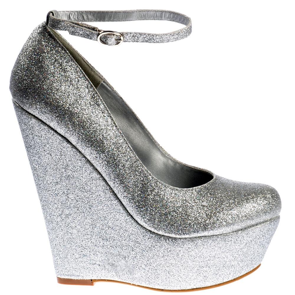 shoekandi glitter wedge platform shoes ankle