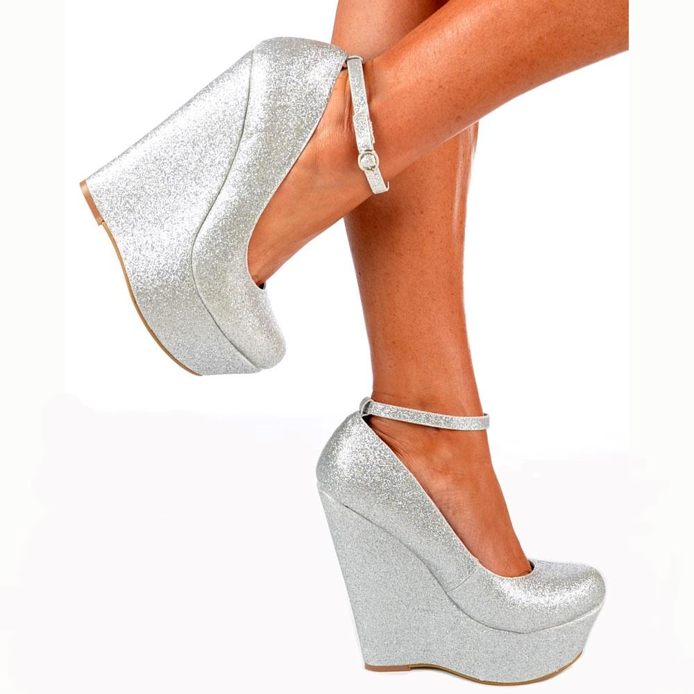 Silver Platform Heels With Strap
