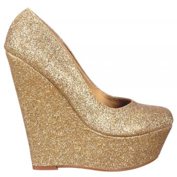 Shoekandi Glitter Wedge Platform Shoes  - Gold Glitter