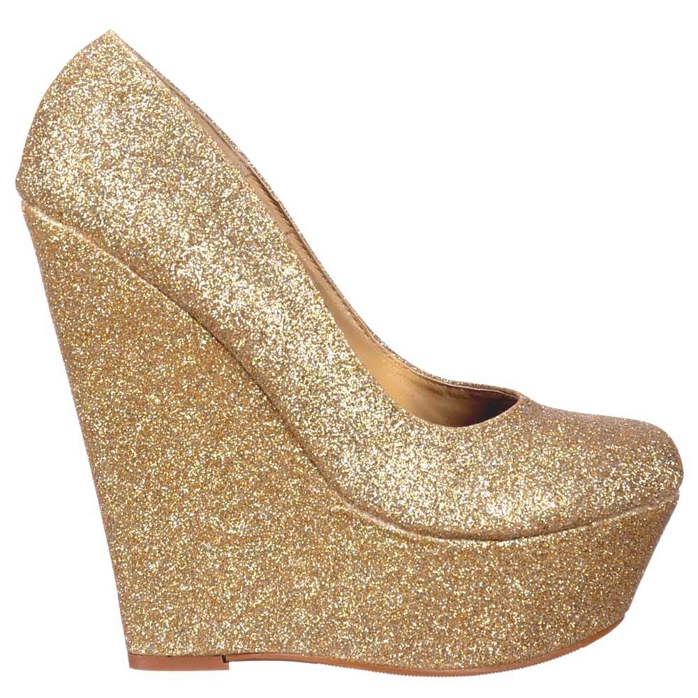 Shoekandi Glitter Wedge Platform Shoes - Gold Glitter - Shoekandi ... f8be4d2bb9