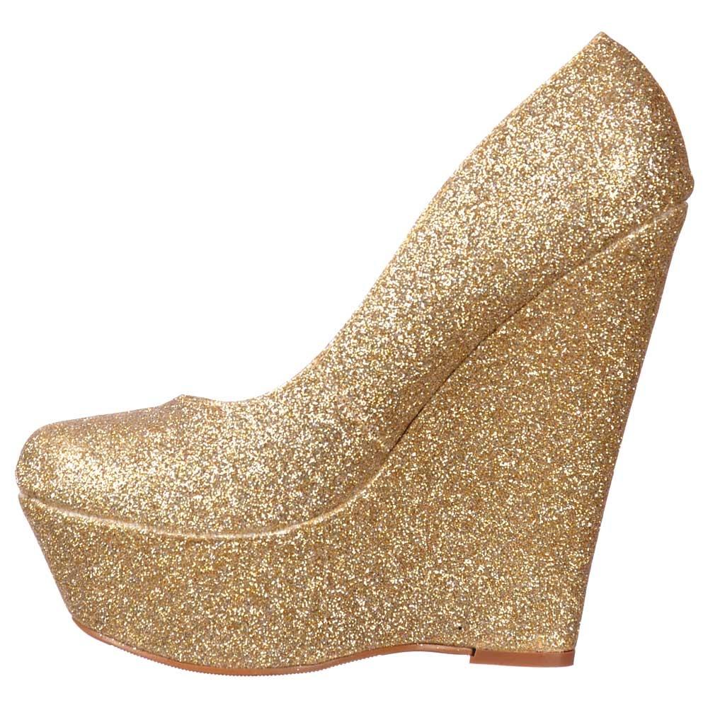 shoekandi glitter wedge platform shoes gold glitter