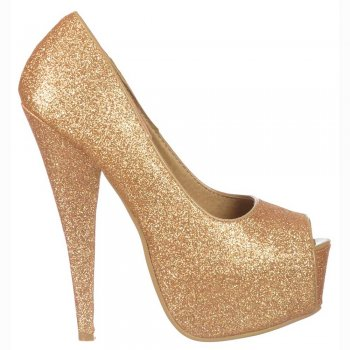 Shoekandi Gold Sparkly Glitter Peep Toe Stiletto Concealed Platform High Heel Shoes - Gold