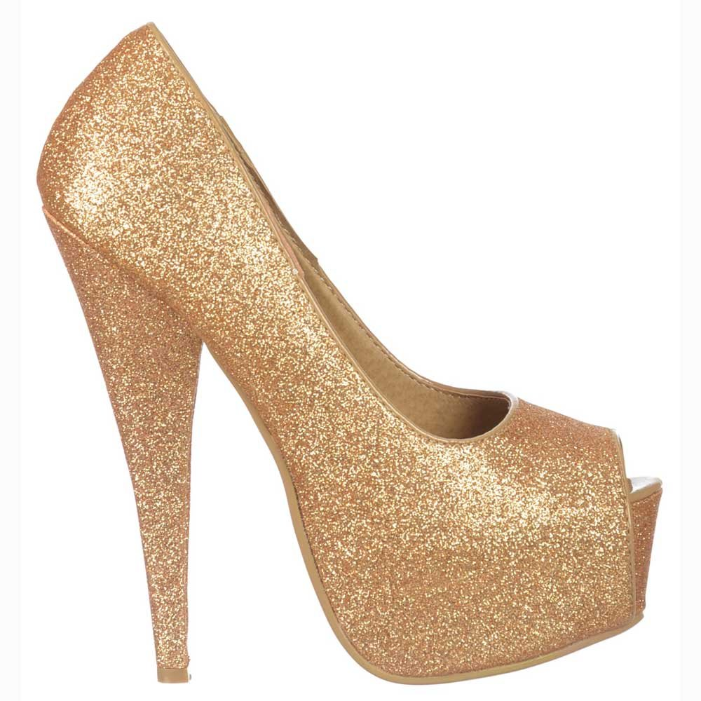 1095bbbdbfcc86 Shoekandi Gold Sparkly Glitter Peep Toe Stiletto Concealed Platform High  Heel Shoes - Gold