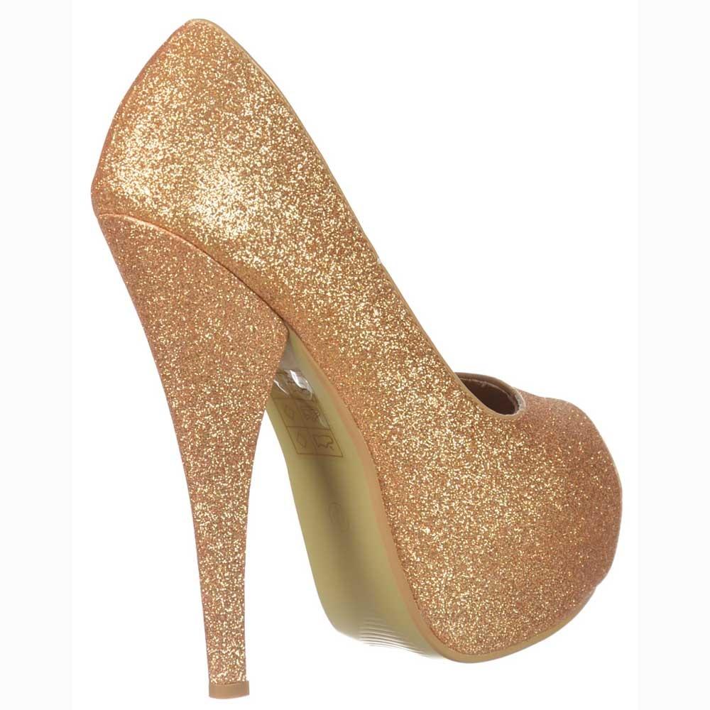 shoekandi gold sparkly glitter peep toe stiletto concealed. Black Bedroom Furniture Sets. Home Design Ideas
