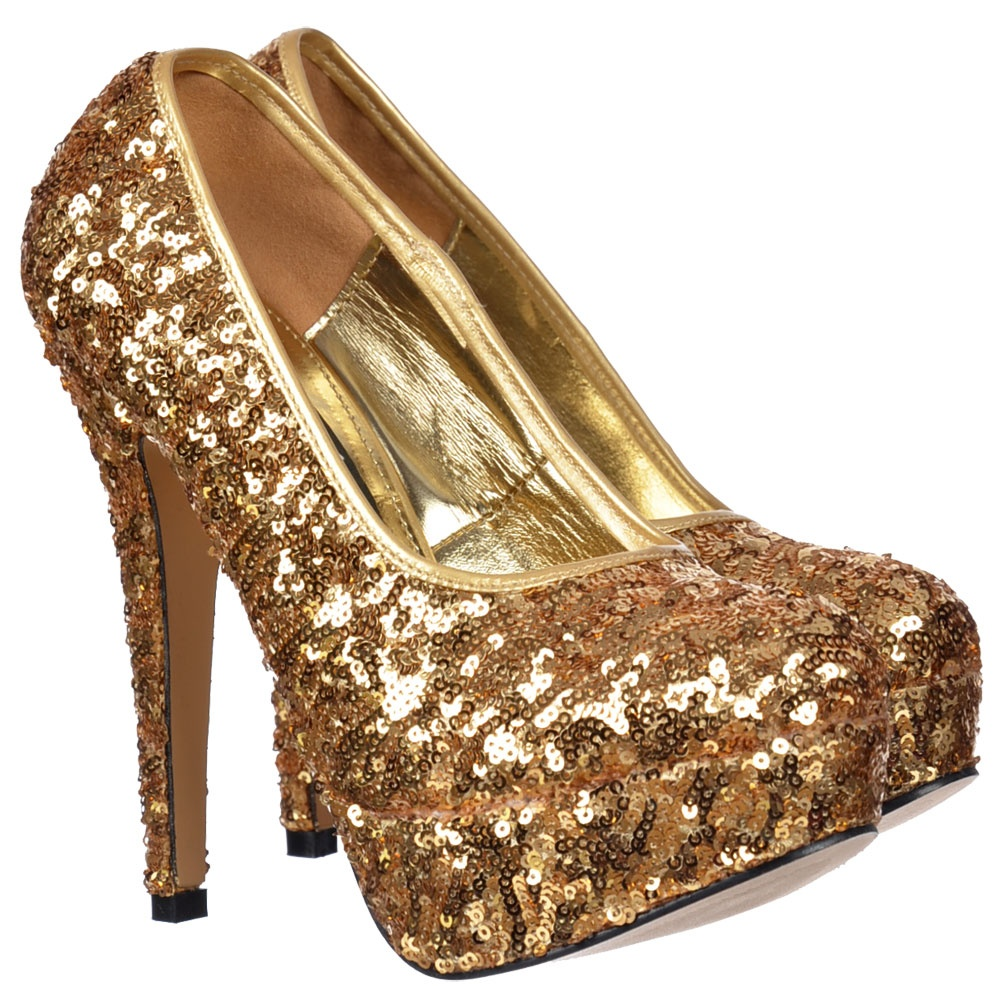 shoekandi gold sparkly sequin high heel platform stiletto. Black Bedroom Furniture Sets. Home Design Ideas